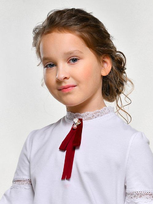 Бант длинный бордо к школьной блузке