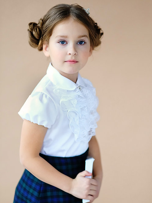 Классическая школьная блузка с жабо арт. 11811