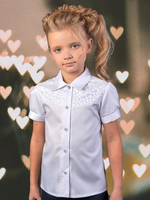 Нарядная белая школьная блузка с кружевом арт. 11100