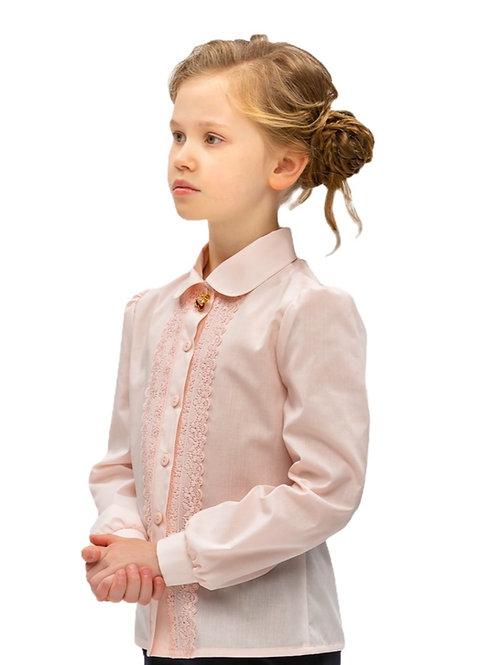 Блузка для девочки бледно-розовая с кружевом