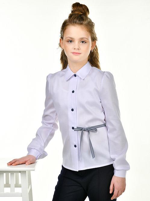 Блузка школьная с длинным рукавом с пояском