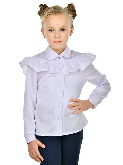 Блузка школьная белая с рюшками с длинным рукавом