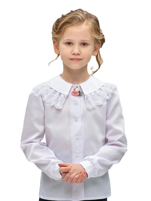 Нарядная белая блузка для девочки с большим воротником.