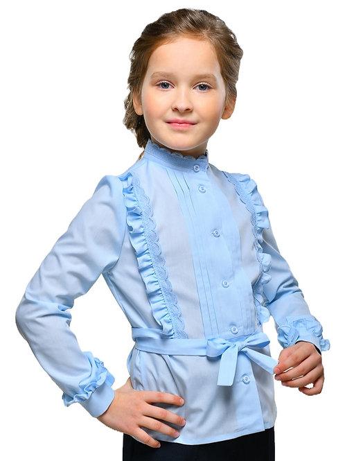 Школьная блузка с длинным рукавом голубая нарядная