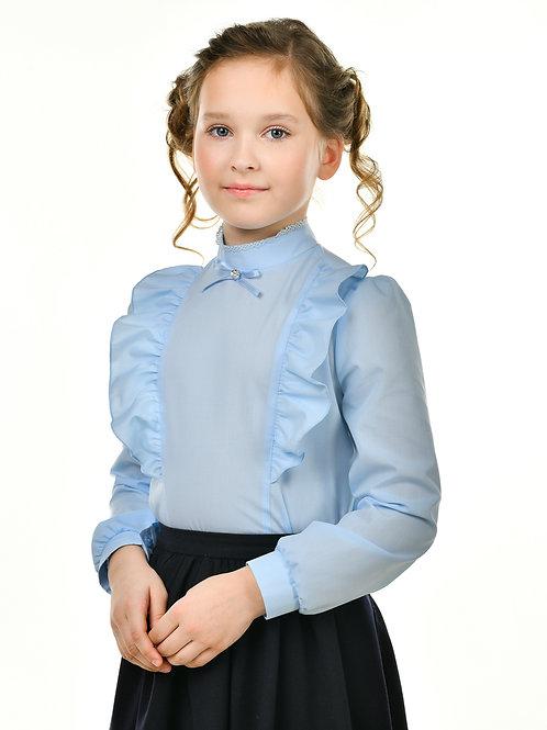 Нарядная голубая блузка с воротником-стойкой