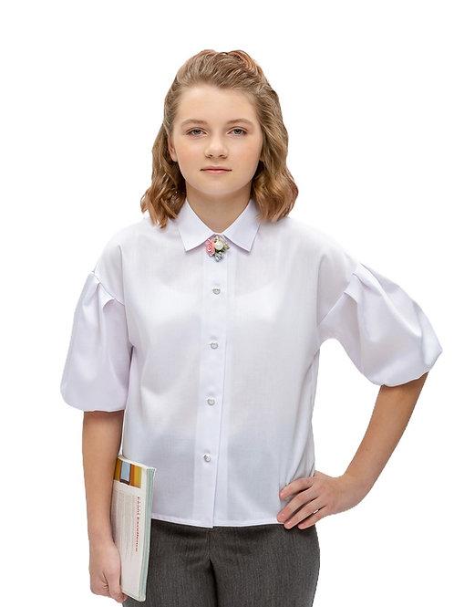 Блузка подростковая для девочки белая оверсайз