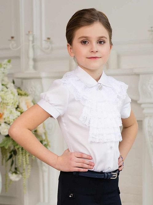 Классическая школьная блузка с жабо арт. 11814
