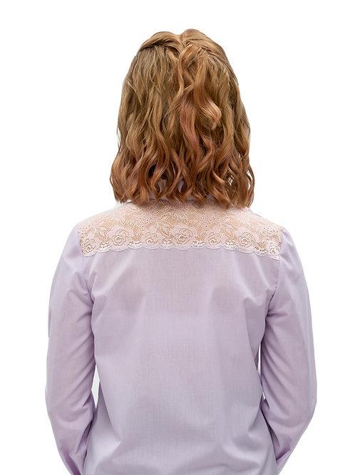Блузка для девочки с кружевной кокеткой. Лаванда.