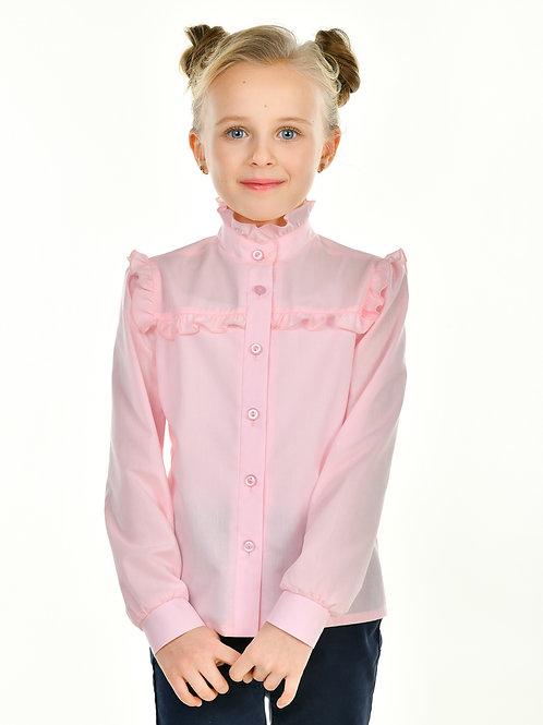 Школьная блузка розовая с рюшкой на кокетке.