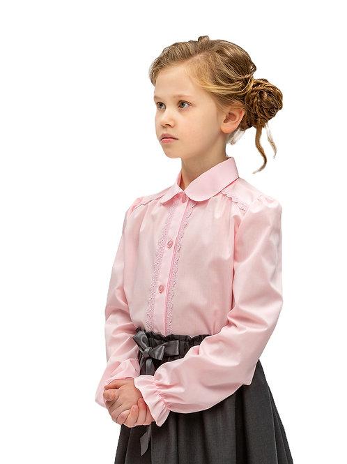Розовая школьная блузка с длинным рукавом