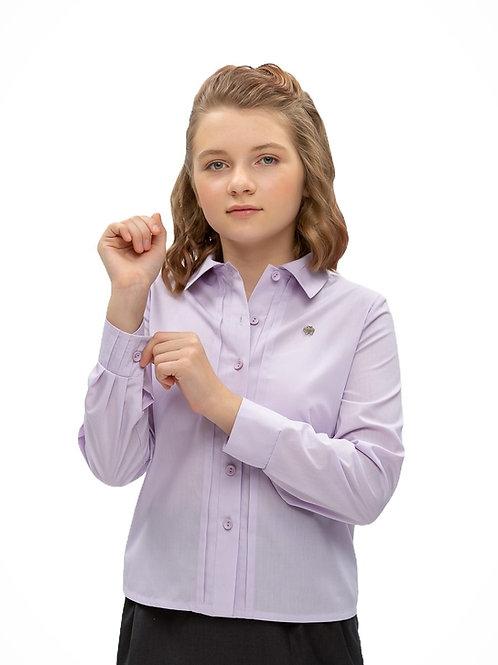 школьная блузка лаванда с красивыми манжетами