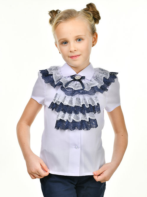 Классическая школьная блузка с жабо арт. 11815