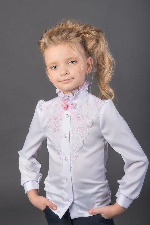 Нарядная белая блузка с розовой отделкой для школы