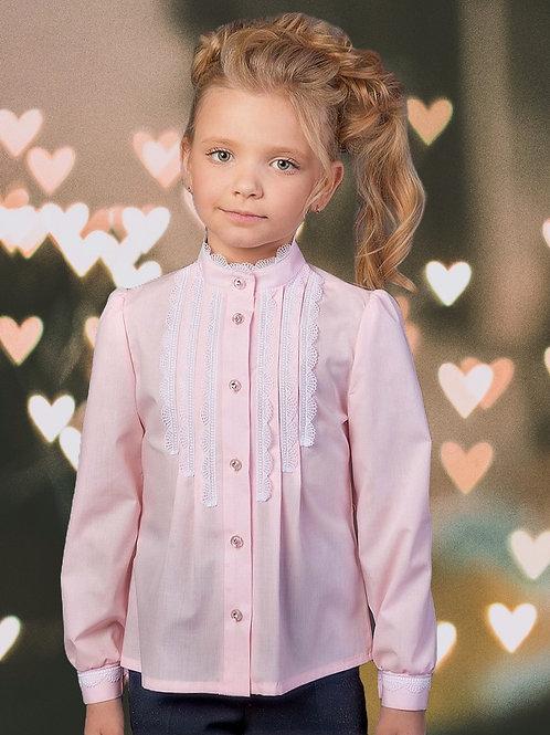 Нарядная розовая школьная блузка с узким кружевом арт. 10102