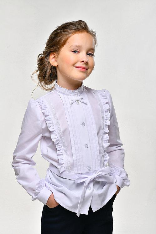 Белая школьная блузка с пояском на талии