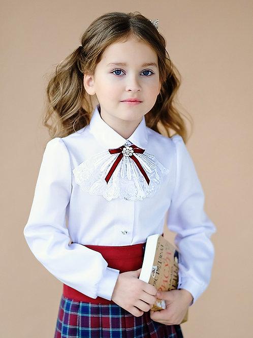 Классическая школьная блузка с маленьким жабо арт. 10810