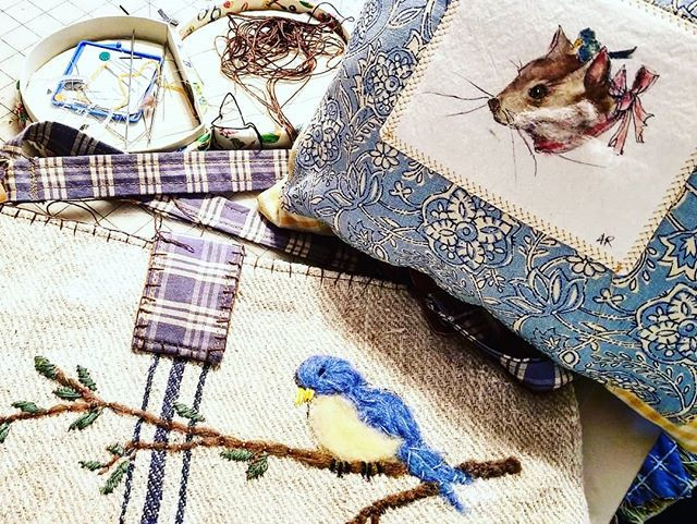 needlework and painted bags
