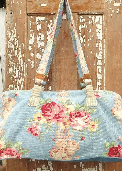 Blue Bark cloth Duffle Bag