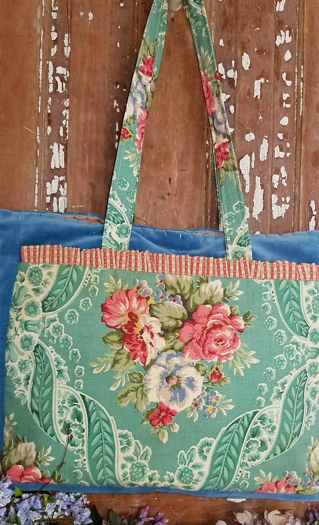 Turquoise Barkcloth Large Tote Bag
