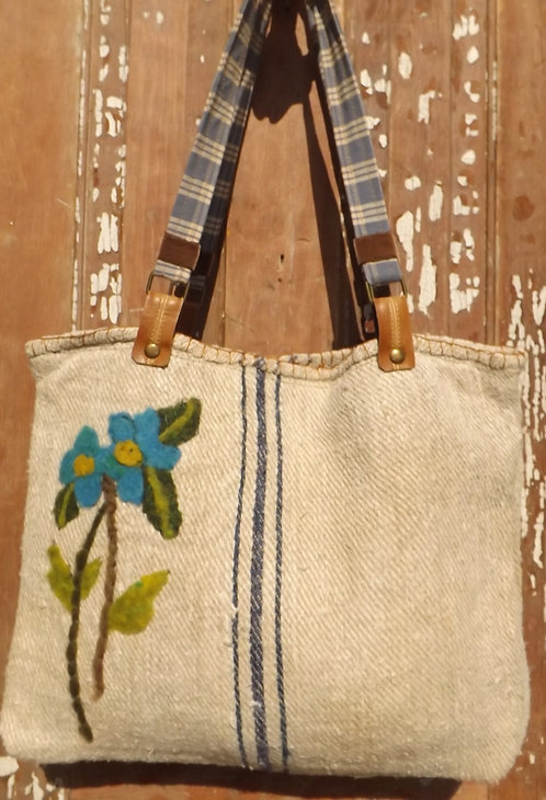 Sack Tote with Blue flowers