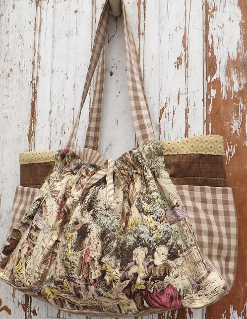 Brown Toile Gathered Tote