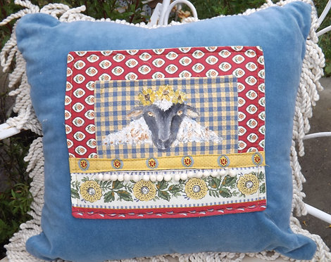 Sheep Art Velvet Pillow
