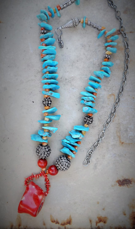 Turquoise and Coral Neclace