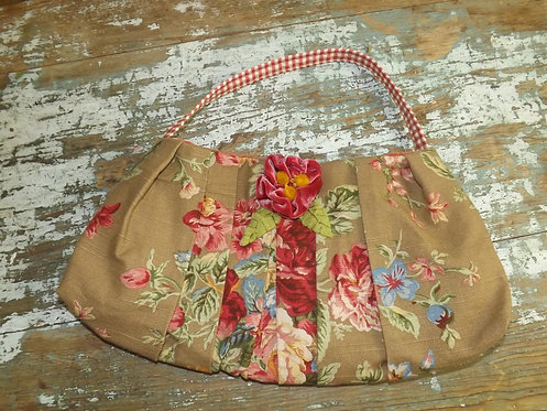 Brown Floral Sack Purse