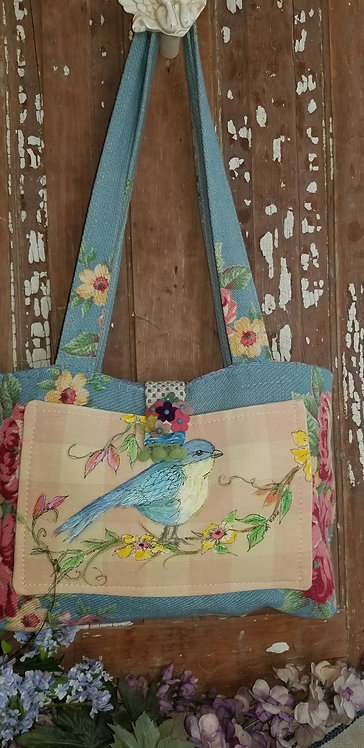 Barkcloth Bag with painted Bird