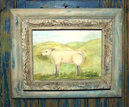 Framed Sheep Watercolor