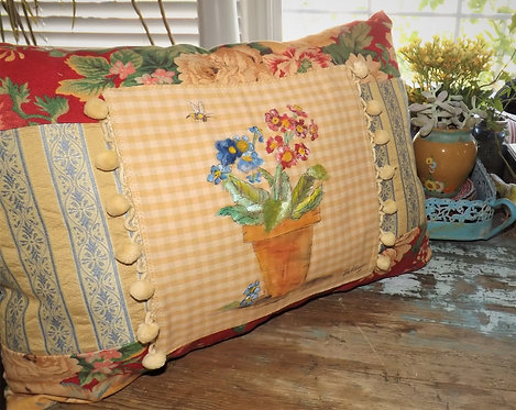 """Potted Primroses"" Pillow"
