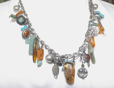 Amber and Turquoise Charm Necklace