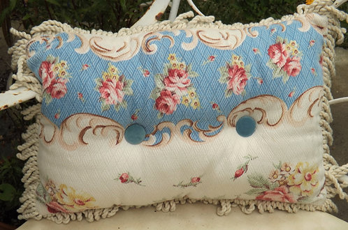 Blue and white bark cloth pillow