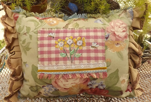 3 flowers painted pillow