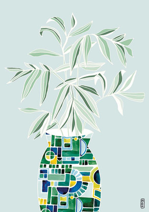 Vase & Leaves on Mint
