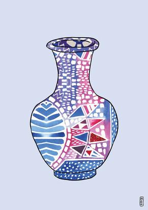 Pattern Vase on Lilac