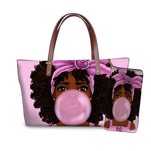 Pink Bubble Girl Tote Bag & Wallet