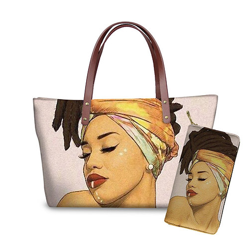 African Tote/w Wallet