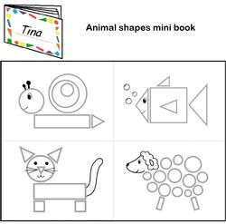 Animals shapes mini book