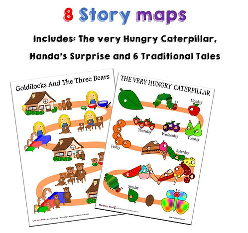 8 Story Maps - The Very Hungry Caterpillar, Traditional Tales +more