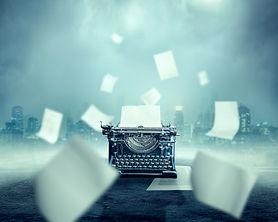 Vintage typewriter, urban landscape on b