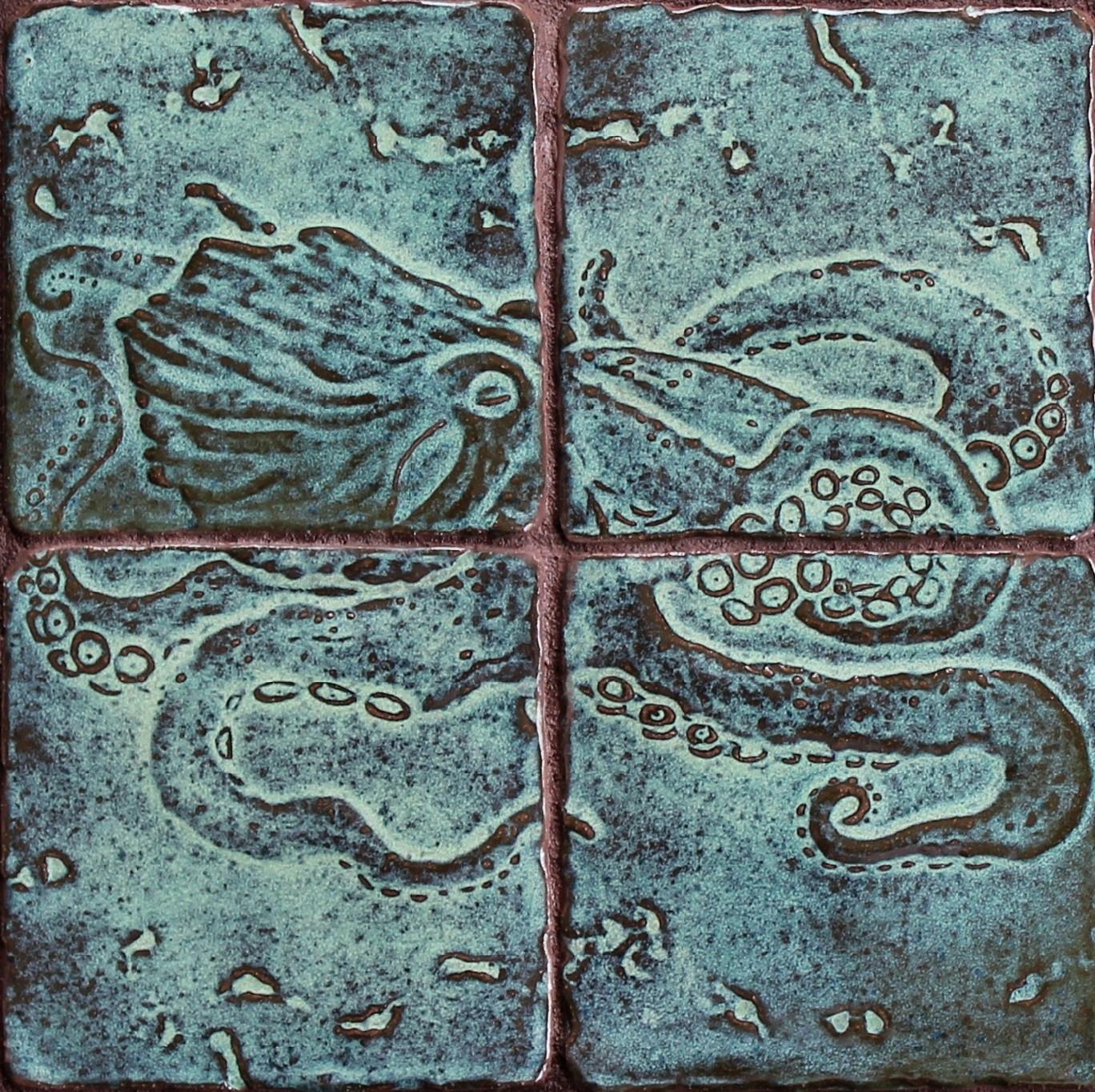 Custom handmade ceramic tile salt creek studio handmade ceramic tiles in the form of an octopus dailygadgetfo Image collections