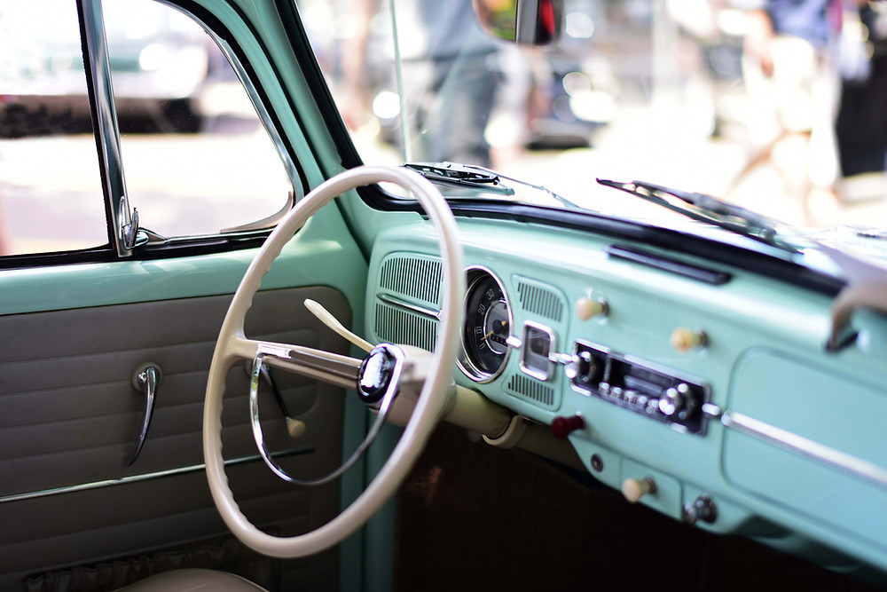 vintage car interior steering