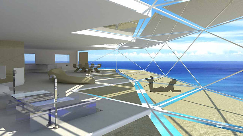 vista 3D edificio con vistas al mar
