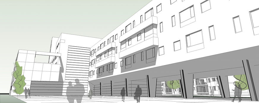 vista 3D edificio con porche