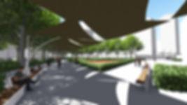 3D espacio publico sombreado
