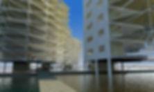 vista 3D edificio sobre el agua