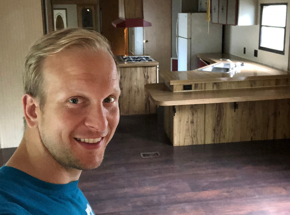 Inside a mobile home in 2017