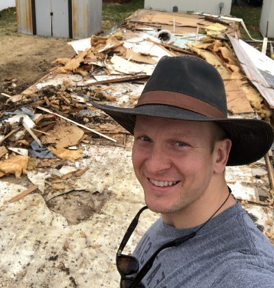 Overseeing the demolition of a mobile home beyond repair