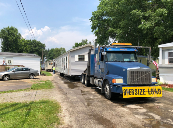 Brand new homes being delivered to a mobile home park